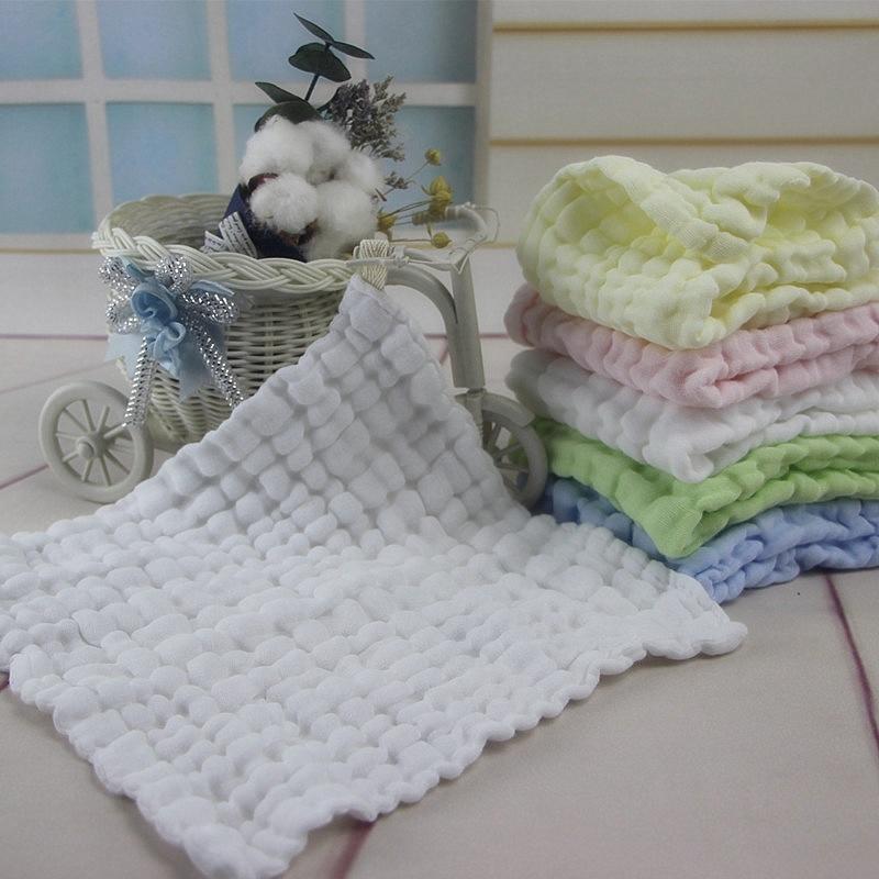 Wasoyoli 5 Peices / Lot 20*20cm Soft Handkerchief 6 Layers 100% Muslin Cotton Seersckuer Infant Feeding Bathing Face Washing
