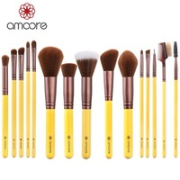Amoore 15pcs Professional Makeup Brushes Synthetic Makeup Brush Set Cosmetics Makeup Tool Kits Powder Foundation Eyeshadow