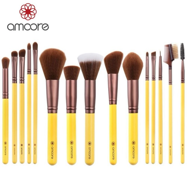 amoore 15pcs Professional Makeup Brushes Synthetic Makeup Brush Set Cosmetics Makeup Tool Kits Powder Foundation Eyeshadow
