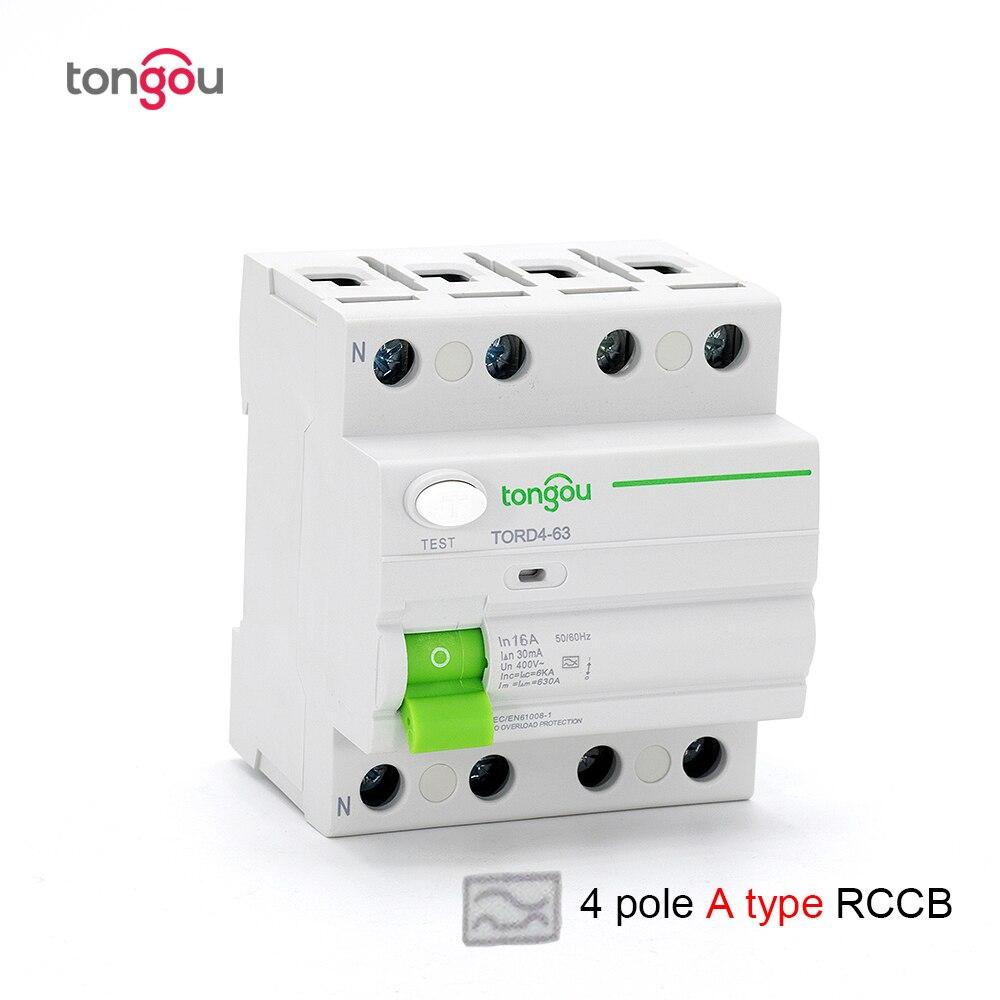 4 pôles 63A 30mA Type A Type électromagnétique RCCB RCD 400 V 6KA disjoncteur de courant résiduel