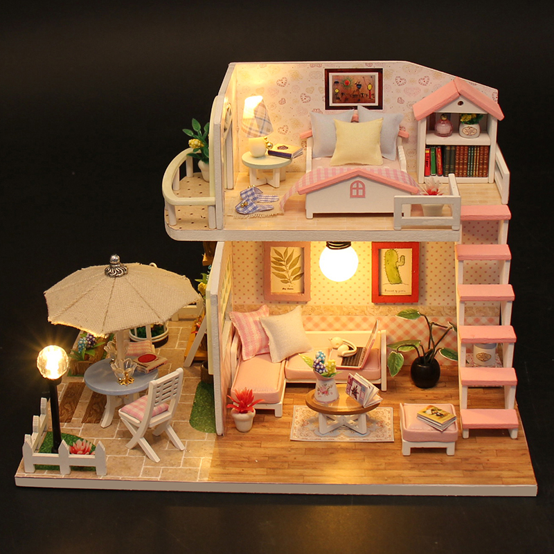 DIY Doll House Miniature Wooden Dollhouse Miniaturas Furniture Toy House Doll Toys For Birthday Gift Home Decor Craft Casa M33
