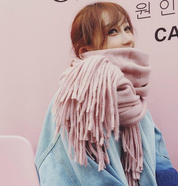 Новый зимний пара Толстый шарф с длинной бахромой шерсть вязаный шарф Чистый цвет дикий шаль