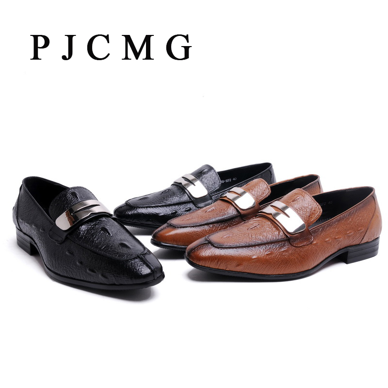 ФОТО PJCMG New Fashion Men's Casual Crocodile Genuine Leather Boat Slip-on Penny Loafers Moccasin Flat Shoes Men's Loafer Shoes