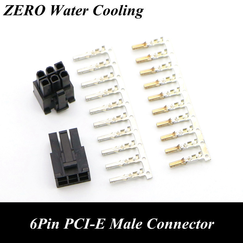 4.2mm 5557 6Pin PCI-E Male Connector With 6pcs Terminal Pins For Computer DIY.