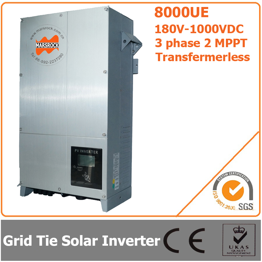 8000W 180V-1000VDC Three Phase Transformerless Solar Grid Tie Inverter with 2 MPPT 5000w single phrase on grid solar inverter with 1 mppt transformerless waterproof ip65 lcd display multi language