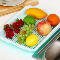 YI HONG Creative Drain Basket Double Layer Plastic Fruit Plate Kitchen Vegetable Tea Cups Bowls Drain