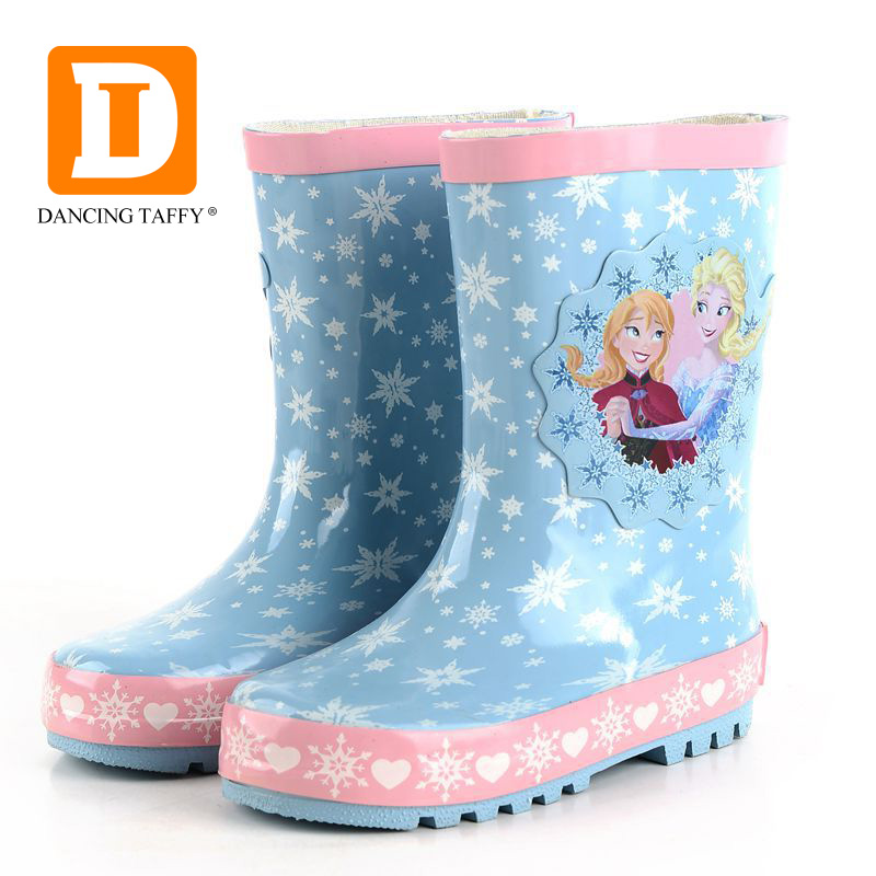 Fashion Princess Kids Rainboots New Ice Snow Queen Girls Boots Children Shoes Mid Calf Elsa Anna Rain Boots For Baby Rubber Shoe laura ashley butterfly rainboots for girls