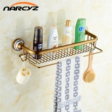 Bathroom Shelves Antique Brass Porcelain Bath Single-Tier Bathroom Storage Rack Wall Mount Bathroom Shelf with Towel Bar 9098K