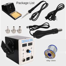 Eu Uk 750W digital ESD 2 In 1 Hot Air Gun Soldering Station Iron For IC SMD Dual display Desoldering Rework Station