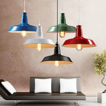 vintage loft colorful iron lid pendent lamp for dining room bar cafe shop single head E27 dia 26/36/46 cm drop lights A168 new arrival american style vintage loft iron black pendent lights for dining room bar resturant decor e27 a127
