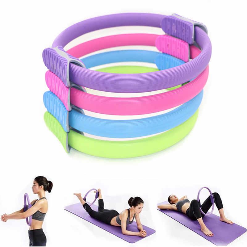 IMIKEYA Anillo de Pilates de Yoga Mango Antideslizante Anillo de Yoga Anillo Auxiliar de Yoga Rueda de Entrenamiento de Yoga Anillo de Ejercicio de Yoga para Entrenamiento Color Mezclado
