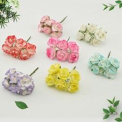 6 pçs barato papel rosa flores artificiais scrapbooking para casamento decoração do carro artesanato diy caixa de presente grinalda material falso