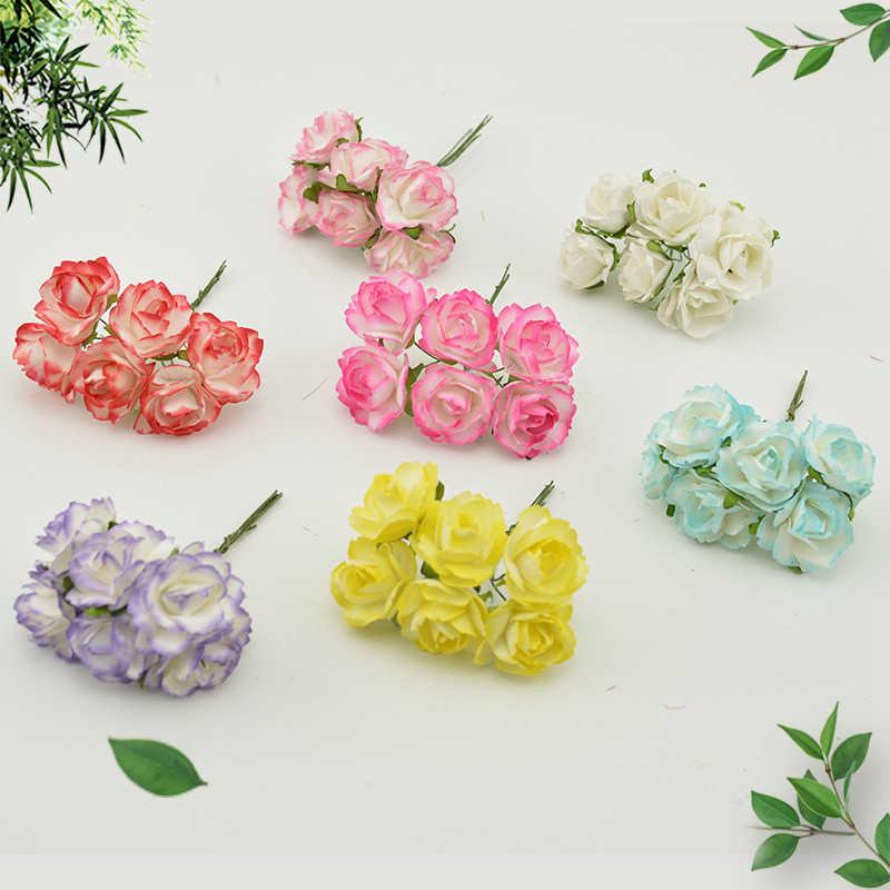 6 pièces pas cher papier Rose fleurs artificielles scrapbooking pour mariage voiture décoration artisanat bricolage boîte cadeau couronne matériel faux