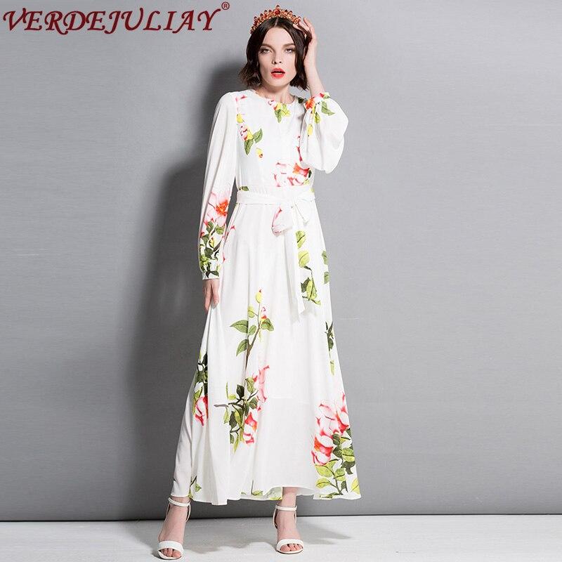 Vintage robe nouveau 2019 été mode nouveau haute qualité fleurs imprimer ceinture à manches longues étage longueur élégante rue blanc robe