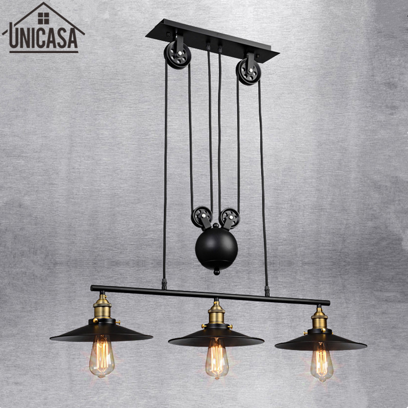 Industrial  Bar Pendant Lights Wrought Iron Black Lighting Office Kitchen Island LED fixture Light Antique vintage Ceiling Lamp retro matte black iron ceiling light american industrial iron lights