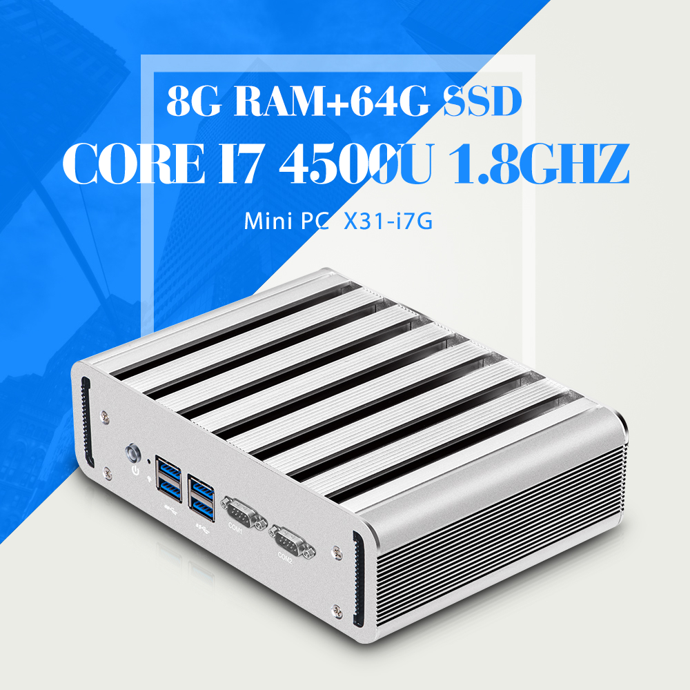 Fanless Embedded Industrial Mini PC Sd Omega Core I7 4500U Mini Computer Case DDR3 8G RAM 64G SSD With Wifi Computer