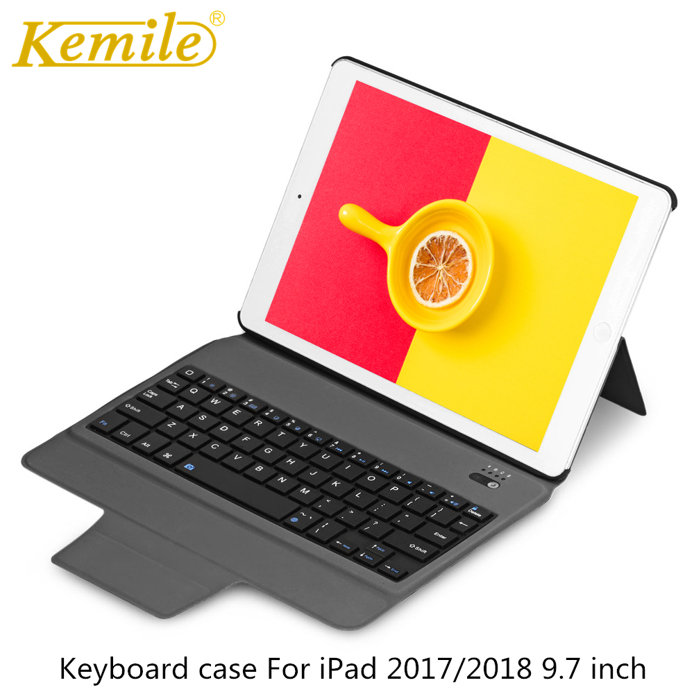 все цены на Bluetooth Keyboard Case For iPad 2018 9.7 W Ultra Slim Stand Leather Cover For iPad 2017, Pro 9.7 Air 1/2 tablet Keypad klavye онлайн
