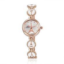 New Fashion Watches Women Luxury Rose Gold Eiffel Tower Stainless Steel Quartz Ladies Dress AC067