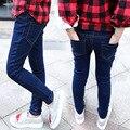 Kids girls Jeans 2016 autumn wild new Korean children long pants pants feet pencil pants big virgin shinny jeans