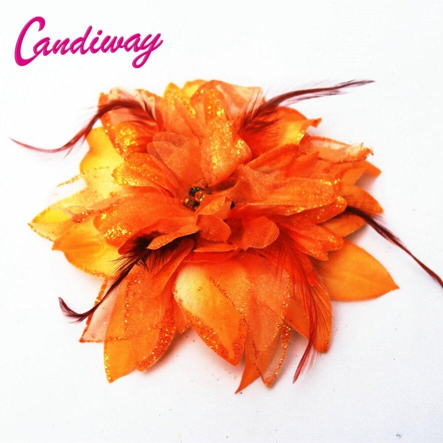 2017 New Arrival Orange Hair Ornaments   Headwear   Flower Women Fashion Hairpins Hair Clip For Girls Hair Headdress Accessories 1pc