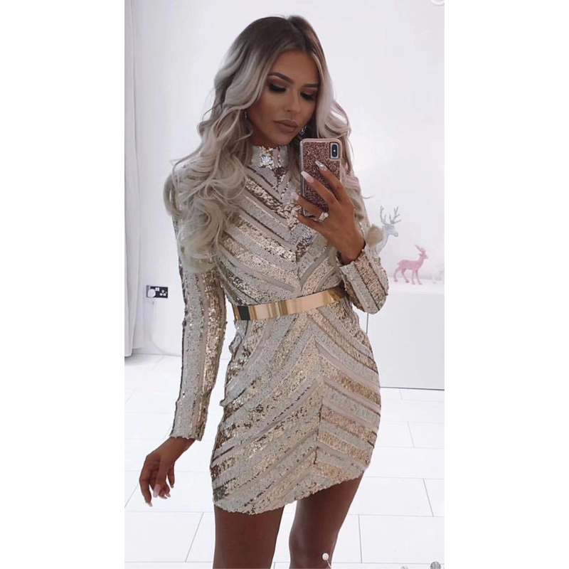 En Date Womnen Nouveau Fille Outfit Court Parti Mode Cocktail Robe Robes Gros Homecoming Sequin Brillant À Manches Longues zUMVpS
