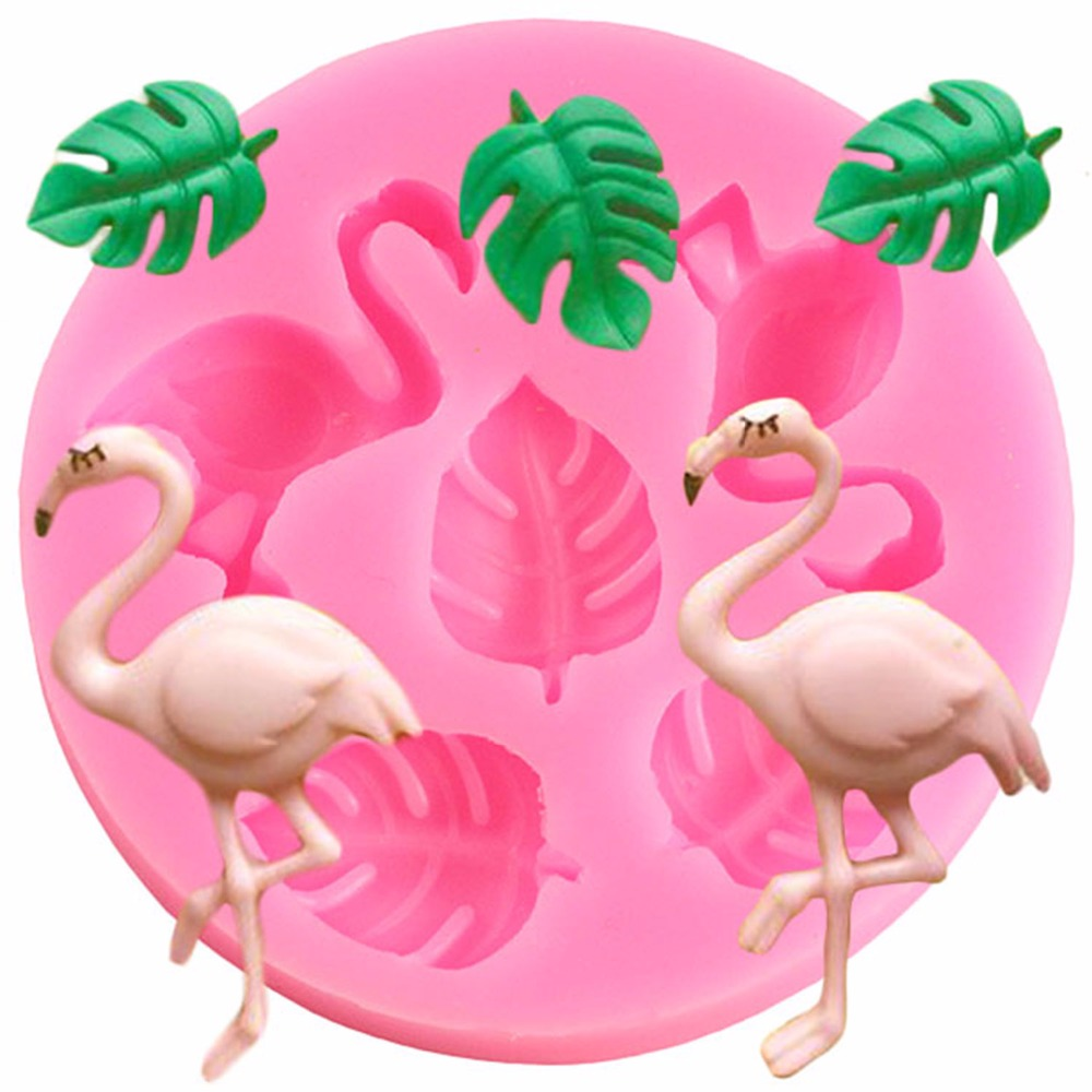 3D Flamingo Baby Birthday DIY Party Fondant Cake Decorating Turtle Leaf Silicone Molds Cupcake Chocolate Gumpaste Candy Moulds(China)