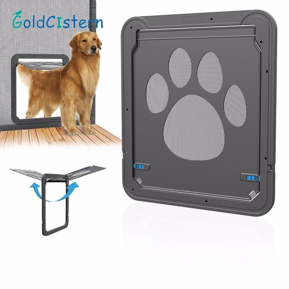 Pet Dog Cat Door Multifunction Magnetic Automatic Lock Pet Door Innovative Gauze Window Door For Dogs Cats