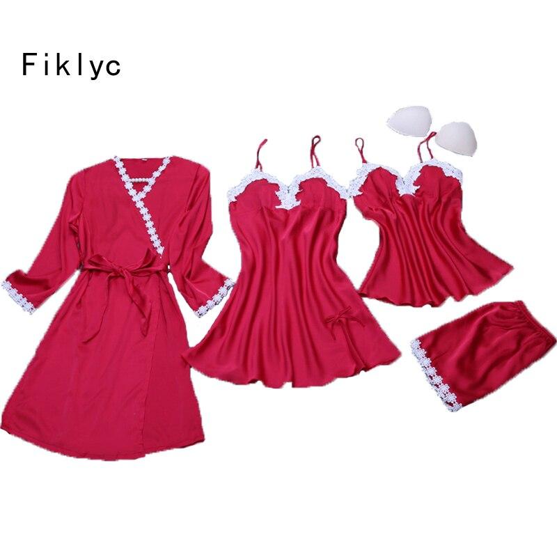 Fiklyc brand four pieces women's lingerie pajamas sets lace floral satin silk ladies big size padded V-neck sleep pijamas sets