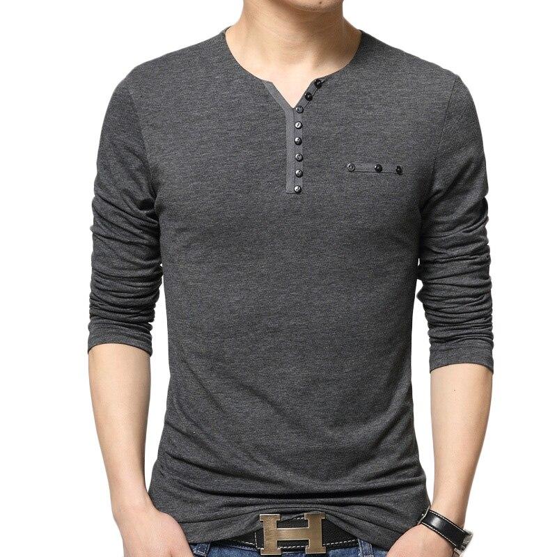 Cor sólida T Camisa Dos Homens Da Marca T-shirt de Algodão de Manga  Comprida Casuais homens Slim Fit Respirável V Neck Botton Camiseta Homme  Camisetas 45cd4c398178e