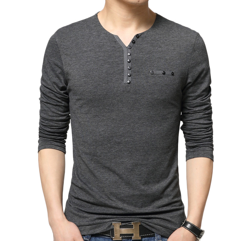 solid color t shirt men brand cotton long sleeve casual t