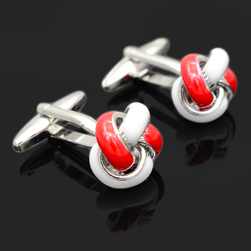Button Knot Enamel Paint Cufflinks High Quality Branded Groomsmen Gifts
