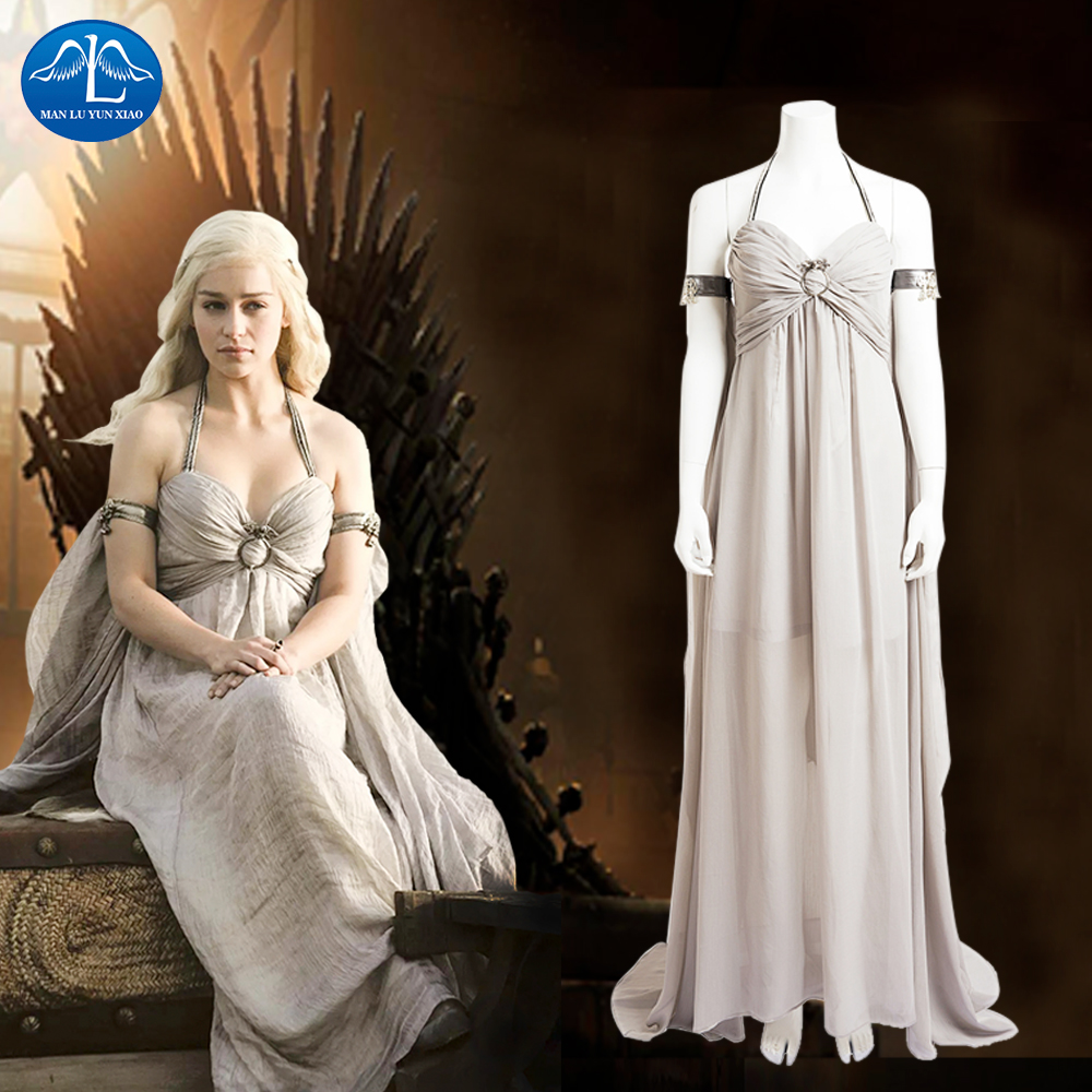 New Feminino Game Of Thrones Costume Daenerys Targaryen Costume Halloween Costumes For Women Custom Made Free Shipping Hot Sale