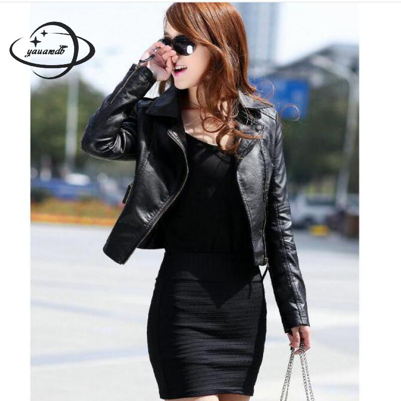 YAUAMDB Women Faux Leather Jacket Spring Autumn Pu S-3XL Female Coat Clothing Zipper Ladies Motorcycle Short Outerwear Ly38