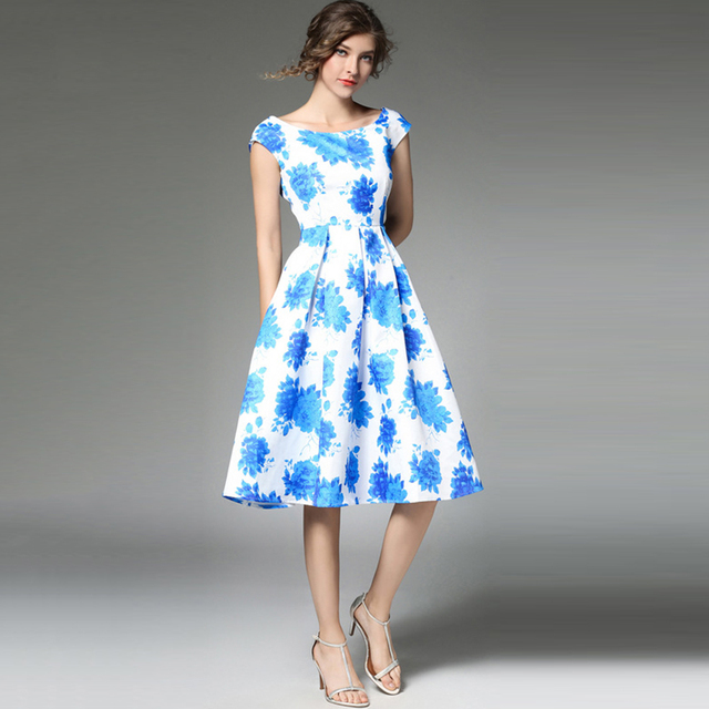 women dress evening party Chic floral sleeveless plus size dress ...