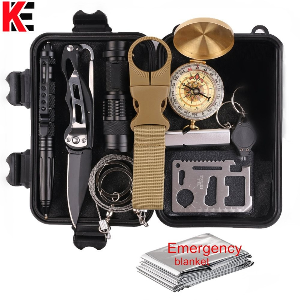 11 In 1 Emergency Survival Gear Multi Tools Kit Set Outdoor Camping Travel Multi-tool First Aid SOS EDC Tactical for Wilderness