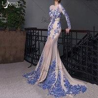 Модест синий Аппликации шифон одежда с длинным рукавом Русалка back Открытое вечернее платье Для женщин индивидуальный заказ оболочка вечер