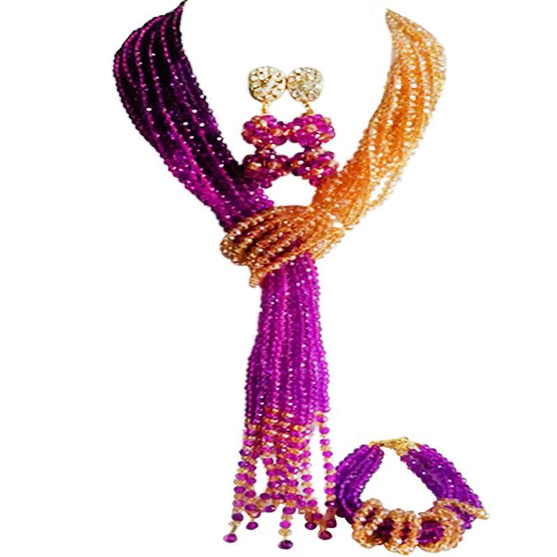 Mode violet Champagne or AB femmes anniversaire cadeau cristal bijoux ensembles 10C-WJ-22