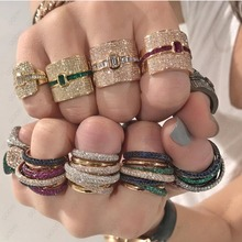 GODKI מונקו עיצוב הצהרת יוקרה Stackable טבעת עבור נשים חתונה מעוקב זירקון אירוסין דובאי פאנק כלה למעלה אצבע טבעות