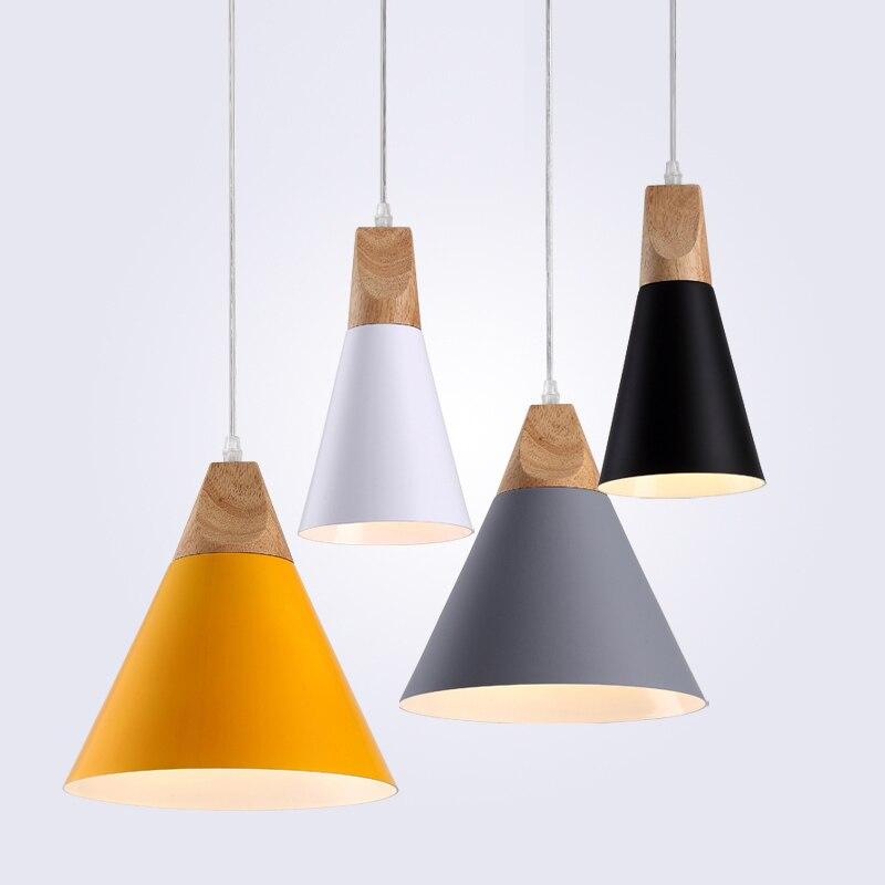 US $18.3 65% OFF|Nowoczesne drewniane lampy wiszące LED Hanglamp kolorowe lampy wiszące do restauracjioświetlenie barowe oprawa do dekoracji wnętrz