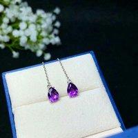 shilovem 925 sterling silver piezoelectric amethyst Stud Earrings Jewelry women trendy party water drop new be060812agz