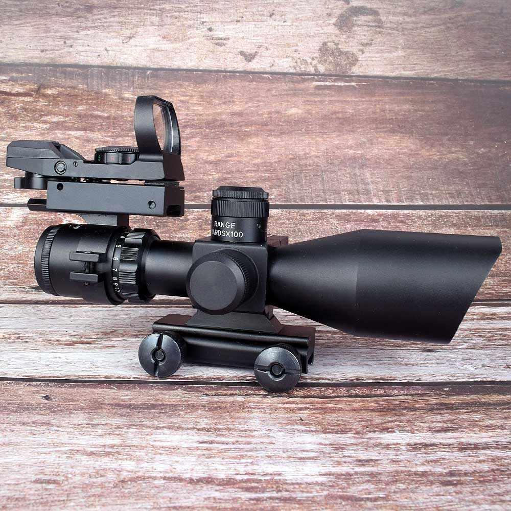 טקטי Riflescope 2.5-10x40 ציד Sight אופטיקה Red Dot לייזר רובה היקף + 4 Reticle אדום ירוק רפלקס היקף ראיית נקודה