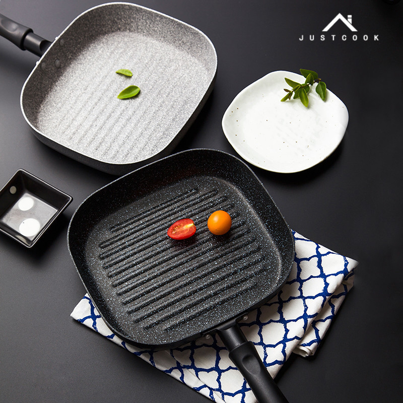 Justcook 22x24 CM No Oil-smoke Steak Frying Pan Breakfast Frying Eggs General Use for Gas and Induction Cooker Non-Stick Pans
