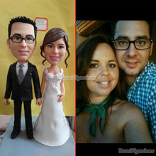 Handmade Wedding Cake Topper custom Groomsmen gifts bobbleheads wedding for parents anniversary by Turui Figurines