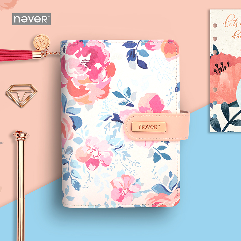 2018 Yiwi Never Flower 6 Loose Leaf Binder Planner Pu Leather Notebook DIY Diary Planner With Gift Box P 2018 yiwi never marble pu leather a6 planner monthly weekly diary notebook gift stationery