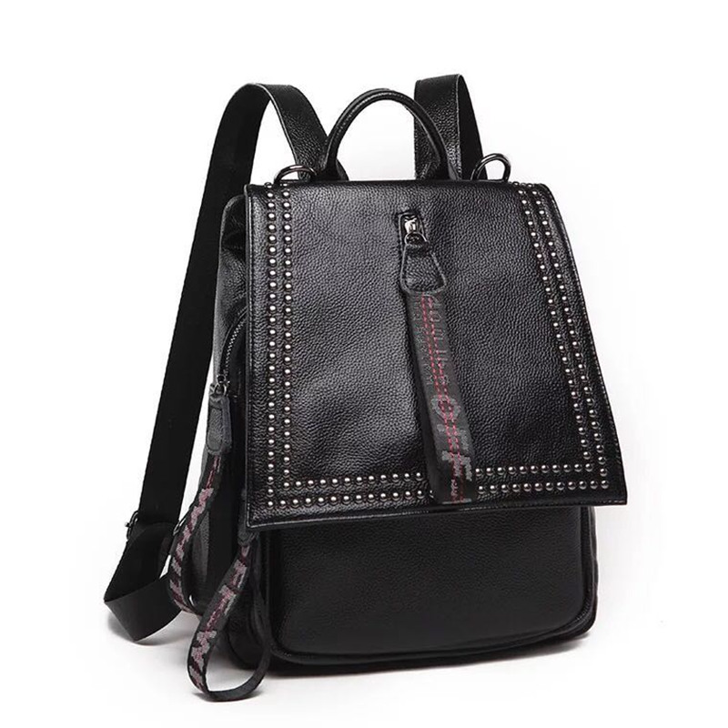 New Style Simple Backpack Women PU Leather Backpacks For Teenagers School Bags Fashion Vintage Solid Black Shoulder mochil new women pu leather backpack minimalist solid black high quality tassel bags for teenagers girls preppy style string backpacks