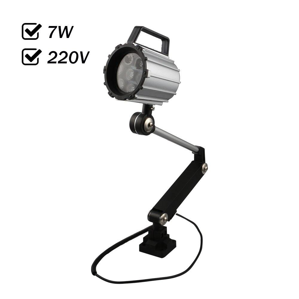 Sortie d'usine 7 W AC 220 V LED Spot lumière étanche à l'eau CNC Machine-outil lampe de travail Long bras tournant Type Anti-huile Machine lampe