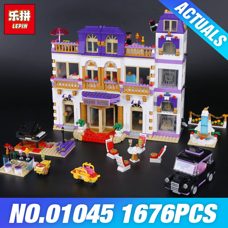 In Stock Lepin 01045 New 1676Pcs Girls Series The Heartlake Grand Hotel Set 41101 Building Blocks Bricks Toys Kids Birthday Gift 1676pcs friends heartlake grand hotel building blocks bricks girls toys compatible with legoingly 41101 for children gifts