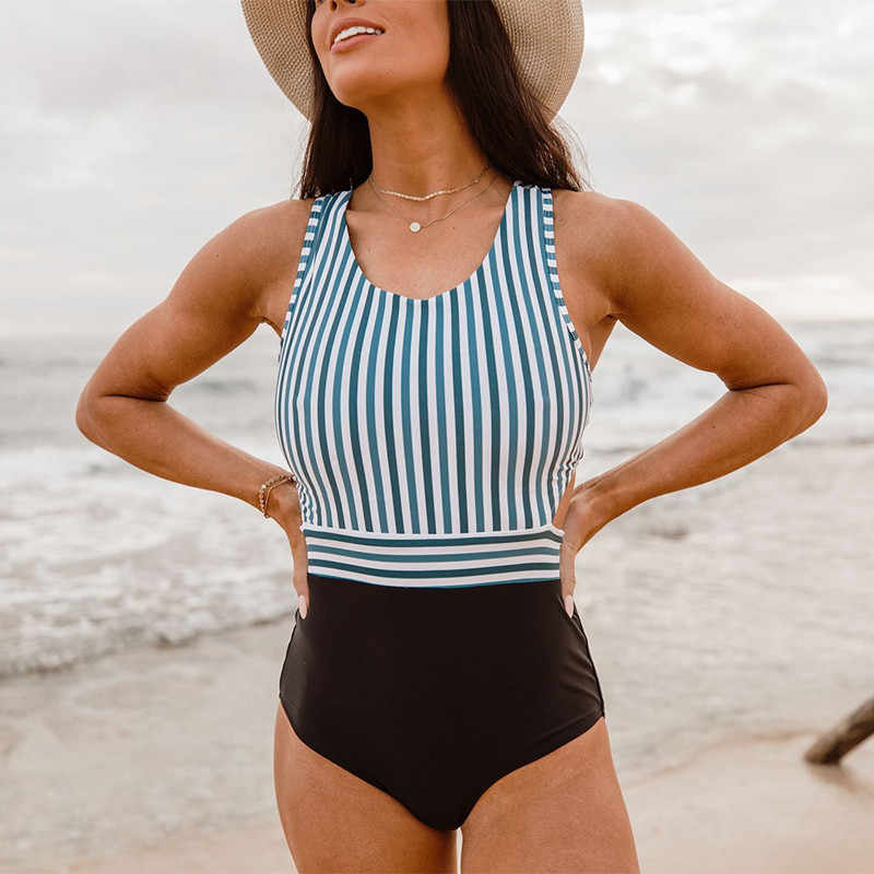 efa7855735 ... 2019 Vintage High neck Swimsuit Women Sexy Tummy control Floral Monokini  Plus size One piece Swimwear ...