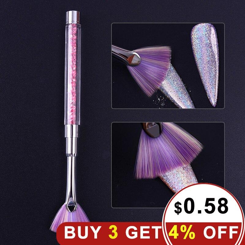 1 шт. складной веер Форма ногтей брус розовый ручка со стразами пыли блеск средство для снятия пудры Ручка Nail Ручка для рисования Liner Brush