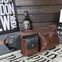 Vintage PU Leather Waist Packs Fanny Pack Fashion Men Messenger Small Travel Bag For Men Pocket